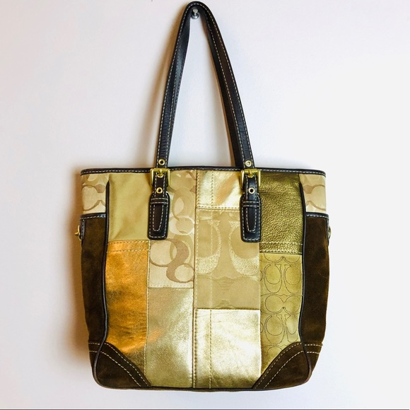 Coach Handbags - COACH Holiday Brown + Gold Patchwork Tote